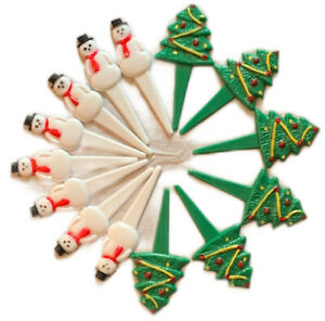 VTG Wilton 1983 5 Christmas Trees And 8 Snowman Cupcake Toppers Picks