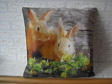 Kissenhülle, Kissenbezug, Dekokissen, Ostern, Fotodruck zwei Hasen 40x40 cm