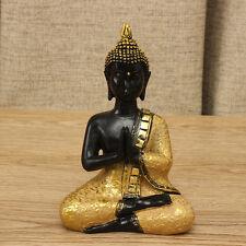 Orando Tailandés Buda Meditando Sentado Figurilla Escultura Ornamento Decoración