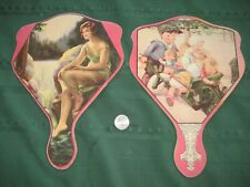 "2 cardboard fans adv quack medicine ""Dicks"" CHILLIFUGE New Orleans"" 1910's"