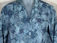 J Jill size medium petite pullover blouse blue long sleeve womens V neck top