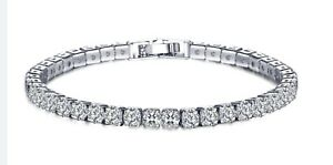 14k White Gold Plated Round Cut 5 Cubic Zirconia Tennis Bracelet