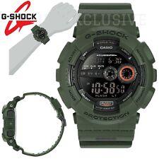 G-shock Reloj LCD Negro Verde Militar GD-100MS-3ER Casio 200m WR Auto Luz Nuevo