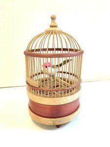 Vintage Chirping Singing Moving Bird Bamboo Cage automaton WORKS video Music Box