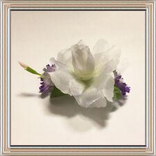 Handmade Violet Lavender, white rose, Hair Barrette, flower hair clip wedding