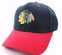 Chicago Blackhawks Reebok MZ152 Team Logo Stretch Fit Hockey Cap Hat  L/XL