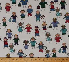 "60"" Kids Nurses Medical Hospital Scrubs Polyester Cotton Fabric BTY D129.16"