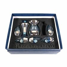 Bombay Sapphire Cocktail Shaker Blue Glass Barware Set by H. Gutfreund IOB