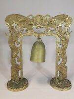 Vintage Chinese Brass Bell Dragon Arch with Stand Gong