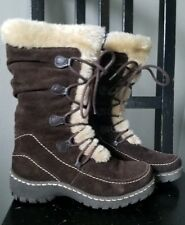 Womens BASS Brown Suede Faux Fur Lined Side Zip Winter Boots SIZE 6M