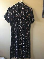 Positive Attitide Black Dress/floral print s8, button down front/pleated chest