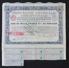Action COMPAGNIE GENERALE AEROPOSTALE PARIS 1929 titre bond share 2