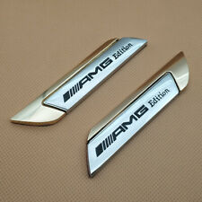 Pair Metal AMG Edition Logo Badge Silver & Gold Fender Car Emblem Sticker Decal