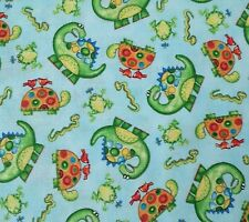 """22"""" All About Boys DJB for Quilting Treasures Dinosaur Turtle Frog on Blue"""