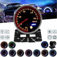 """2"""" 52mm Car 10 Color LED Chrome Bezel 10-15V Voltmeter Volt Voltage Gauge"""