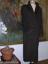 ALBERT NIPON Vintage COAT Brown Wool Black Embroidery Outerwear 2 4 Sm ~Like YSL