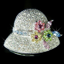 20's Vintage Style w Swarovski Crystal ~Flapper Ladies HAT Floral Mom Pin Brooch