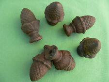 6 glands pignes pin fonte rouillé anciennes décoration treille hauteur 8,5 cm