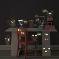 MONSTERS 27 BiG Wall Stickers Glow in the Dark EYES Room Decor KIDS Decals BR3