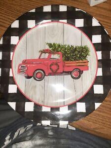 Red Truck Melamine Christmas Dinner Plates Set 2