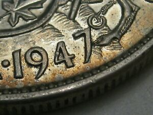 AU 1947 7/7 7 over 7 50¢ Cent Silver CANADA.  #23