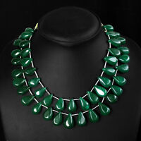 TOP SELLING 489.50 CTS NATURAL 2 LINE GREEN EMERALD BEADS NECKLACE - (DG)