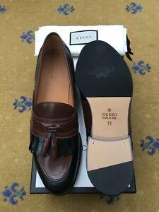 New Gucci Mens Shoes Brown Black Leather Fringe Tassel Loafer UK 11 US 12 45 Bee