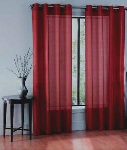2PC SOLID SHEER INDOOR PANEL 8 BRONZE GROMMETS WINDOW CURTAIN VERSATILE RUBY