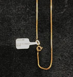 NEW 9ct Yellow Gold Solid Box Chain 50cm Hallmarked 375 Made in Italy