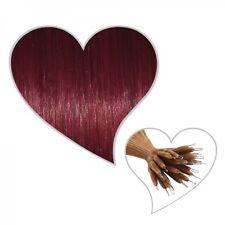 25 estensioni Nanoring 35 cm rosso vinaccia#35 Capelli veri Remy Microring
