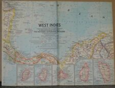 Vintage 1962 National Geographic Map of the West Indies