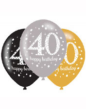 "6 x 40th Birthday Party Decoration  Black Silver Gold Sparkle 11"" Latex Balloons"