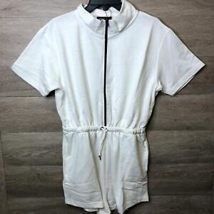 PrettyLittleThing Womens Size 10 Cream Short Sleeve Zip Detail Sweat Playsuit NW