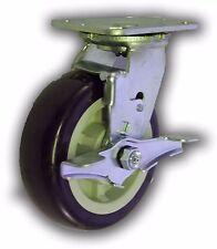 "6"" x 2"" Polyurethane Wheel & Swivel Caster w/ Top-Lock Brake - Heavy Duty 1000#"