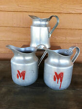 Lot of 3 Aluminum Water Pitcher ~Rustic Shabby Farm Country Decor-Primitive M!