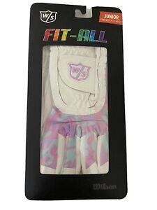 New Wilson Staff Fit All Pink Purple Light Blue Camo Junior Golf Glove One Size
