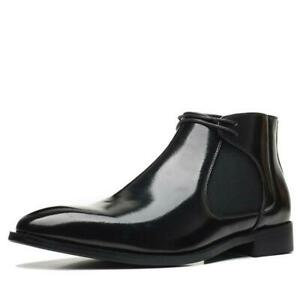 Men Chukka Ankle Boots Shoes Pointy Toe Business Formal Dress Shiny Leather 2021