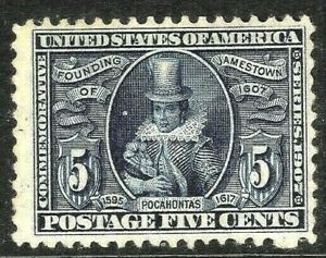 [SD]   US #330 Mint-LH  1907 JAMESTOWN Expo ~ Key Issue...ALWAYS FREE SHIPPING!
