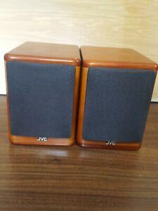 2 JVC Cherry Wood Speakers SP-UX7000 20W 4ohms Bookshelf Speakers