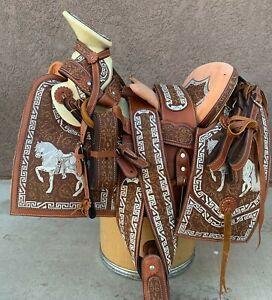 "15"" MEXICAN CHARRO SADDLE MONTURA CHARRA BORDADA CABALLO HORSE CHARRO GEAR"