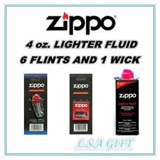 Zippo Lighters 4oz Fuel Fluid and 1 Flint & 1 Wick Value Pack Combo