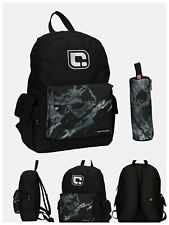 Carbrini 20L Backpack& Pencil Case Black Marble 1 internal pocket and 3 external