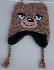 Kids Winter Knit Hoodie Brown Teddy Bear Hat Peruvian Chullo Style Size 4-6