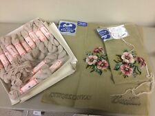 2 BUCILLA floral antique wonder weave canvas needlepoint + wool yarn to complete