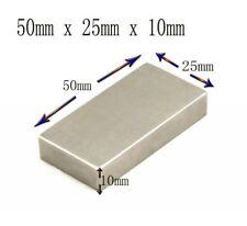 One Very Strong Large Neodymium Block Magnet 50mm x 25mm x 10mm N35 Grade