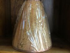 Two medium sized beige cork light/lamp shades with brown fabric trim