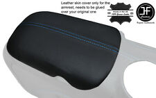 BLUE STITCH ARMREST LID GENUINE LEATHER COVER FITS FORD MUSTANG 2015-2017