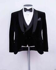 Men Black Velvet Suit Designer Wedding Tuxedo Party Wear Suit (Coat+Pants+Vest)