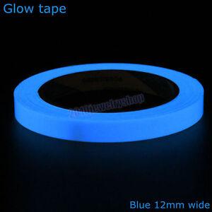 Adesivo colore blu fosforescente fotoluminescente 10mm X 10M si illumina al buio