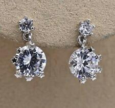 18K White Gold Filled Earrings Topaz Stars Charm Zircon Eardrop Stud Wedding